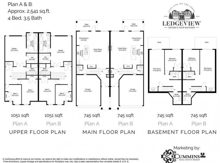 Ledgeview Rowhome Floorplan