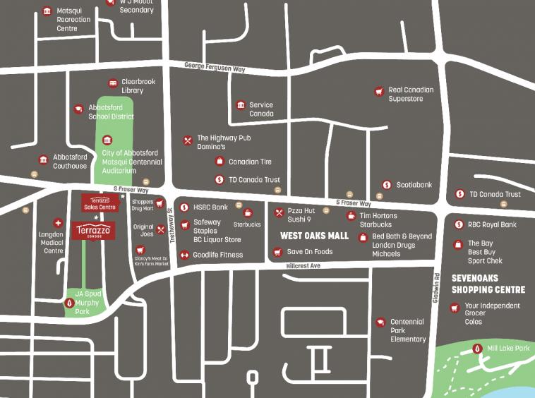 terrazzo condos abbotsford Area Map