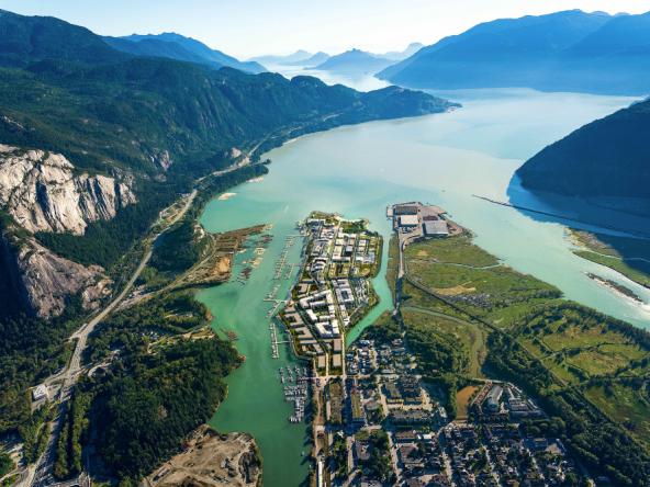 Oceanfront Squamish Aerial View Rendering